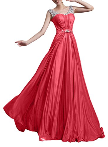 Azbro Mujer Rhinestone Trim Scoop cuello sin mangas fiesta Prom Vestido Rojo sandía