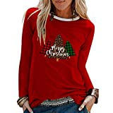 Womens Christmas Funny Printed Blouses Long Sleeve Loose Tops T-Shirts Red