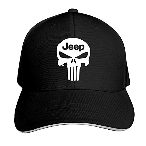 GGLDAN Jeep with Punisher Skull Adjustable Baseball Caps Vintage Sandwich Hat Sandwich Cap Peaked Trucker Dad Hats Black