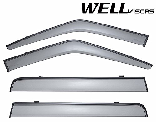 WellVisors Side Window Wind Deflector Visors - Made for and Compatible with Land Rover LR3 LR4 2005 2006 2007 2008 2009 2010 2011 2012 2013 2014 2015 2016 with Black Trim