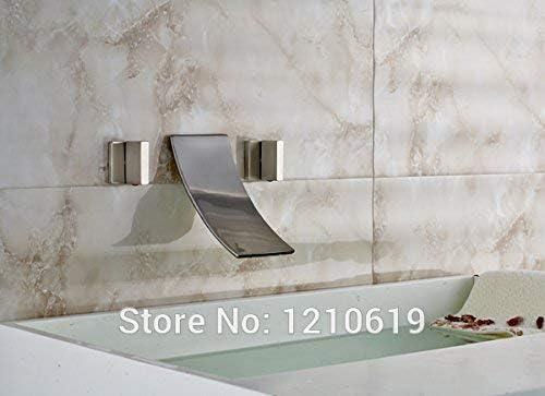 CHUNSHENN 蛇口新しく近代的な3 PCSデュアル、滝広範な浴室浴槽の蛇口のミキサーのタップnickleのブラシ付きのシャワーの蛇口壁掛けマルチを処理します バス用品