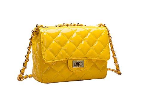 [ILISHOP Women's Fashion Shoulder Bag Quilting Chain Cross Korean Ladies Handbag (Bright-yellow)] (Yellow Purses)