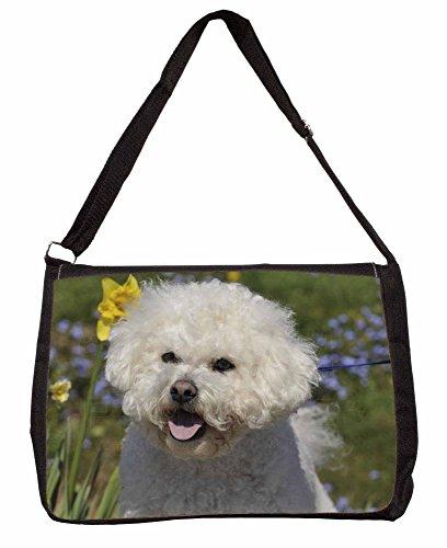 Bichon Frise Dog Large 16 Black School Laptop Shoulder Bag EEXz16clh2