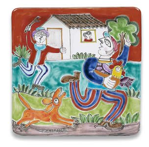 ne Square Platter with Man and Farm - Handmade in Sicily (De Simone Italian Pottery)