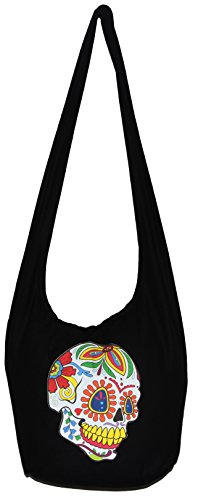 Lining Inch 35 Boho Hippie Bag Hobo with Sugar Yellowteethsmilesugarskull Bohemian Colorful Purse Skull qx1w1vPXz