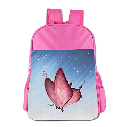 Girls Boys Pink Butterfly Kids Backpack, NEW School Bag For 4-15 Years Students