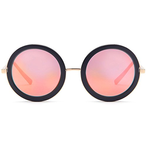 CATWALK Sun Lounger Series UV400 Womens Vintage Retro Round Sunglasses - Mirror Copper Lenes on Gold & Black Frame (Oversized Fashion Vintage Sunglasses)