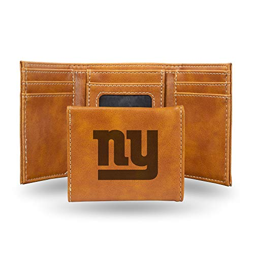 Rico Industries NFL New York Giants Laser Engraved Tri-Fold Wallet, Brown