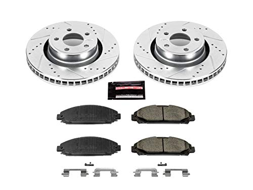 Fit 2010-2017 Lexus LS460 Front Sport Drill Slot Brake Rotors+Ceramic Brake Pads