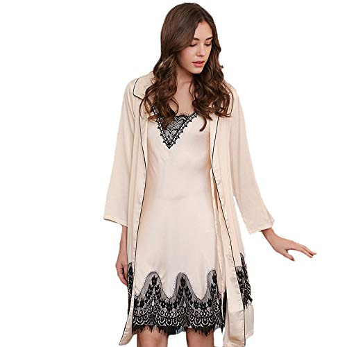 (Forall-Ms Womens Nightdress and Dressing Gown Sets,Ladies Pyjamas Set Satin Chemise and Bathrobe,Long Sleeve Nighties Sexy Nightgown Silky Kimono Robes,Beige-L)
