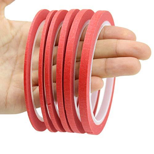 FidgetFidget - Cinta Adhesiva de Papel Fino para Pintar y Estampar uñas, 2 mm ~ 6 mm, 5Rolls 2mm, 1