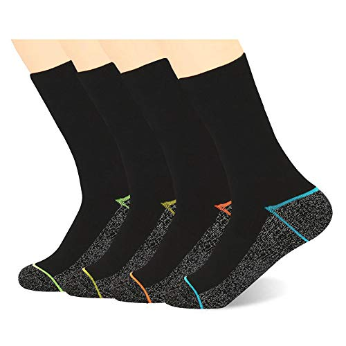 Kodal Copper Antibacterial Athletic Crew Socks for Mens and Womens - Moisture Wicking Anti Smell Ankle Socks 4 Pairs (Multicolor, Large)