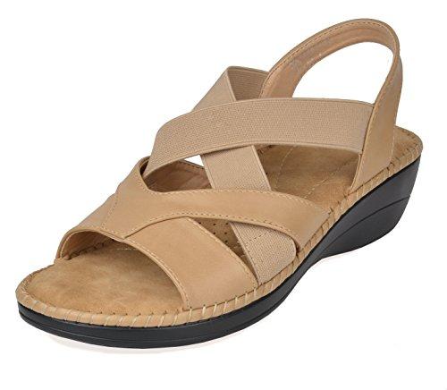 DREAM PAIRS Women's Truesoft_02 Beige Low Platform Wedges Slingback Sandals Size 6.5 B(M) US -