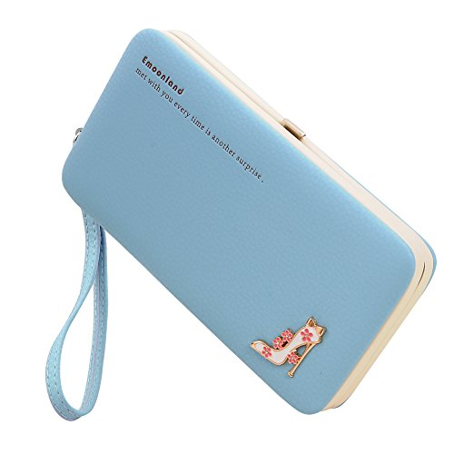 Smartphone Wristlet,Ladies Clutch Purse Wallet Mobile Phone Wristlet Wallet Large Capacity with Strap Wrist for iPhone 8/ 8 Plus/7/ 7 Plus/6S /6S Plus/6 /Samsung Galaxy S8/S7/S6 by Emoonland (Blue)