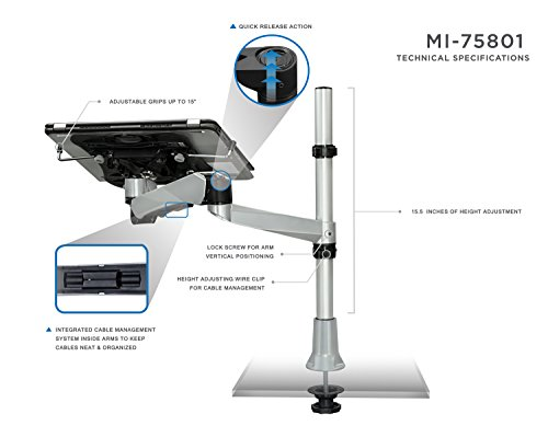 Mount-It! MI-75801 Adjustable Height, Articulating, Tilting, Rotating, Desk Mount Stand for Laptops, Tablets, and Notebooks for Screens up to 17inches with USB Powered Cooling Fan, Grommet Base, Silver by Mount-It! (Image #1)