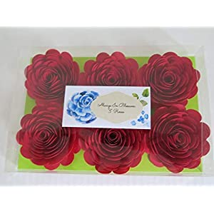 Bright Red Paper Flowers, 3 Inch Roses, Set of 6, Wedding Table Centerpiece, Love Theme Party Decorations, Bridal Shower Decor 2