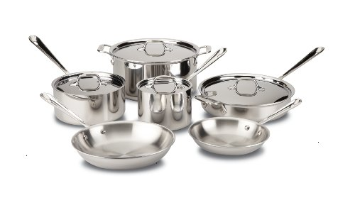 All-Clad D3 Tri-Ply Bonded Cookware Set, Pots and Pans Set, 10 Piece, Dishwasher Safe Stainless Steel, Silver