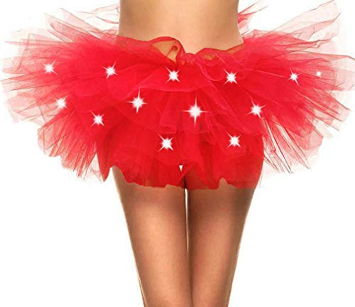 Adult's LED Light Up 5 Layered Tulle Tutu Mini Skirt, -
