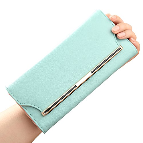 Womens Trifold Long Wallet Purse Card Holder Money Organizer for Ladies (Green)