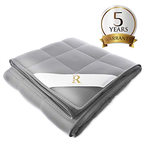 Royal Therapy Weighted Blanket Adult & Kids Bed (20lb, 60x80', Queen Size Comfort) 100% Calming Cotton Blanket with Glass Beads