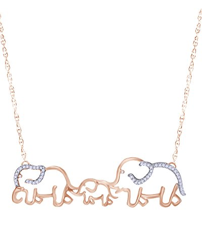 Wishrocks 1/8 CT Round Cut White Natural Diamond Elephant Family Necklace in 14K Rose Gold Over Sterling Silver ()
