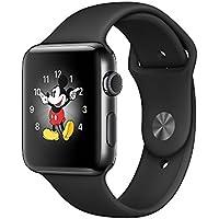 Reloj Apple Smart Watch acero inoxidable Series 2, banda deportiva negra: GPS, 42 mm