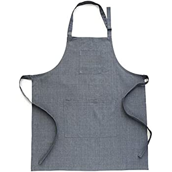 Solino Home Linen Kitchen Apron - Men & Women 100% Linen Bib Apron - Adjustable Straps with Pockets - European Flax, Grey