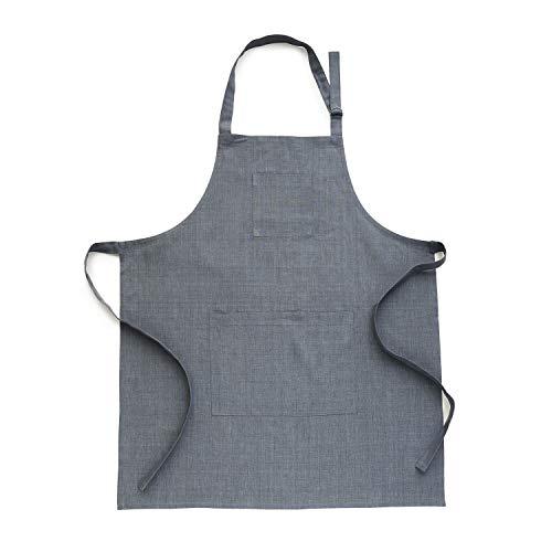 Solino Home Linen Kitchen Apron - Men & Women 100% Linen Bib Apron - Adjustable Straps with Pockets - European Flax, Grey