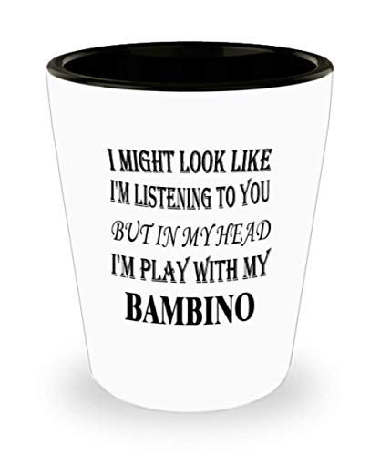 My Cat Bambino Gifts White Ceramic Shot Glass - I Might Look Like I'm Listening - Best Inspirational Gifts and Sarcasm Pet Lover