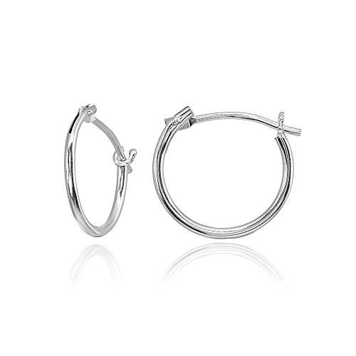 14K White Gold Tiny Small 12mm High Polished Round Thin Lightweight Unisex Hoop Earrings for Men Women Girls
