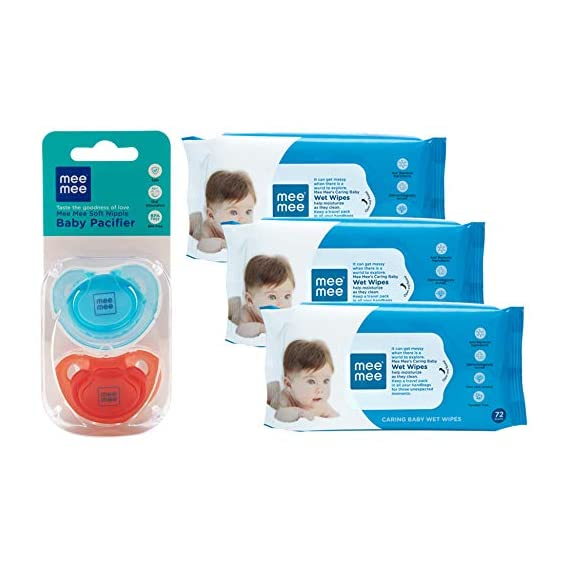 Mee Mee Soft Nipple Baby Pacifier (Green/Blue) Pack of 2 & Caring Baby Wet Wipes with Aloe Vera (72 pcs/Pack) (Pack of 3
