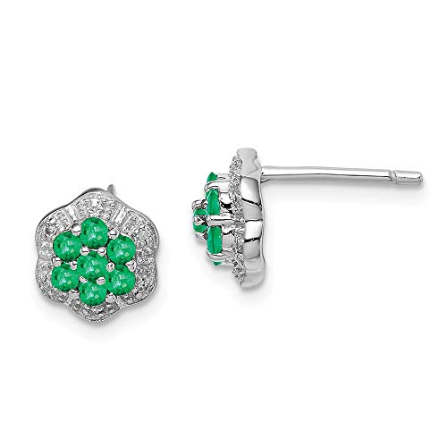 925 Sterling Silver Green Emerald Diamond Post Stud Earrings Ball Button Fine Jewelry Gifts For Women For Her ()