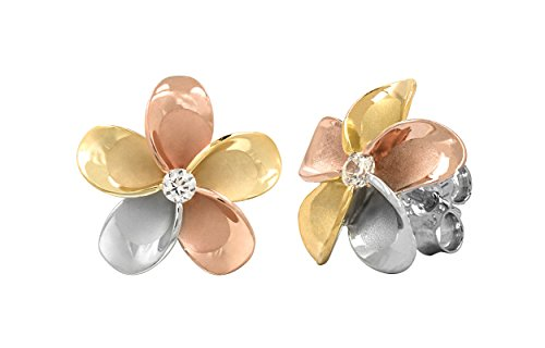14k Gold Tri-Color Plated Sterling Silver Plumeria CZ Stud Earrings (9 Millimeters) ()