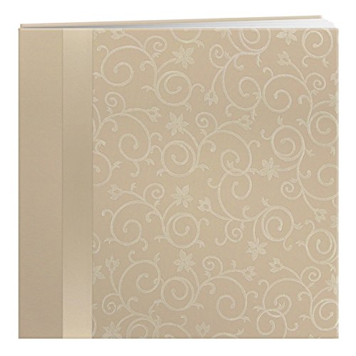 (Pioneer 12-Inch by 12-Inch Scroll Embroidery Fabric Postbound Album with Ribbon, Ivory )