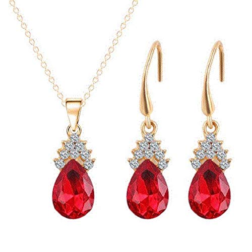 SouthMineral 18k Yellow Gold Plated Bundle of Red Swarovski Earrings & Necklace with White Australian Crystal
