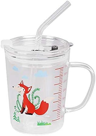 Vaso de leche con escala, vaso de vidrio con pajita y tapa, resistente al calor, apto para microondas, taza de desayuno para leche, taza de desayuno de dibujos animados para niños, taza de medición