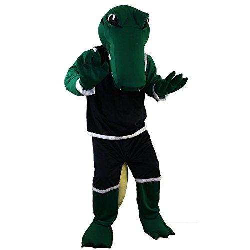 Sport Green Crocodile Mascot Costume Cartoon Character Adult Sz Real Picture