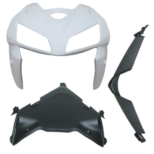 ZXMOTO Motorcycle Front Upper Cowl Nose and Upper Fairing Splash Guard Fairing cowl kit for Honda CBR 600 RR 2005 2006 (Unpainted, ABS Injection) - Upper Front Nose