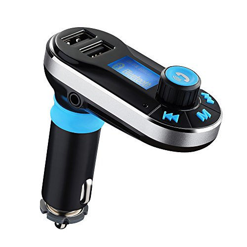 VicTsing Bluetooth KFZ Auto FM Transmitter, Radio Adapter MP3 Player, mit Freisprechfunktion, Dual USB-Lade Ausgang, Mikro SD/TF Card Slot, 3,5mm AUX in für iPhone 7 Galaxy - Silver