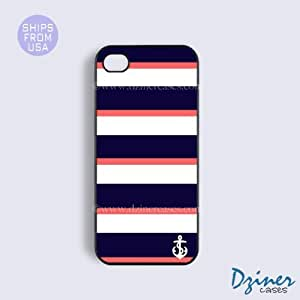 iPhone 5 5s Case - Anchor Blue Coral Stripes iPhone Cover