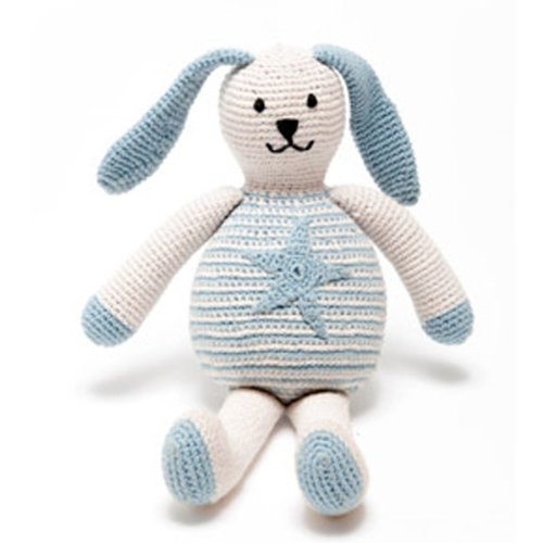 Pebble | Handmade Bunny Stuffed Animal - Baby Blue | Motif Star | Fair Trade | Organic Cotton | Pretend | Imaginative Play | Machine Washable