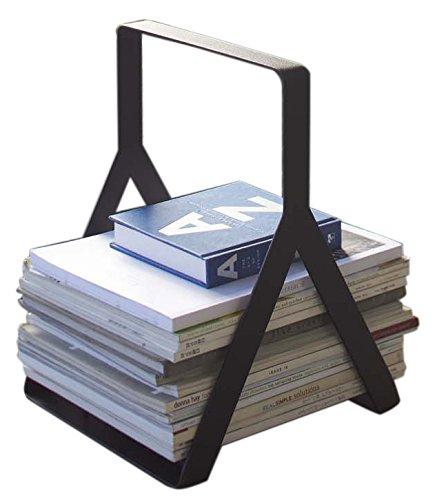 Magazine & Newspaper Storage Stand Rack with Handle in Black Finish - Newspaper Magazine
