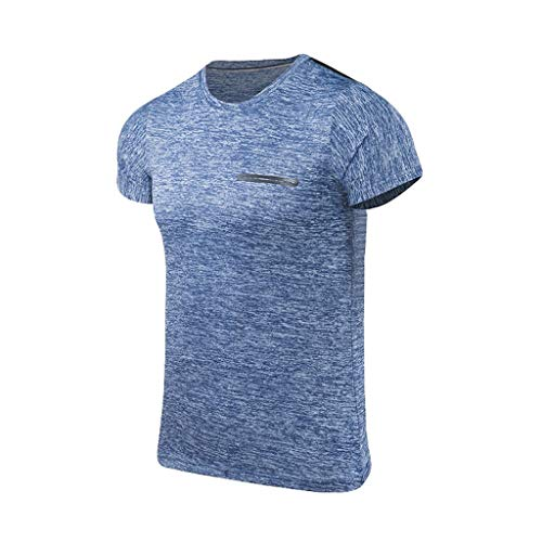 Beautyfine Sport Fast Drying T-Shirt Men's Summer Casual O-Neck Fitness Breathable Top Blouse Sky Blue -