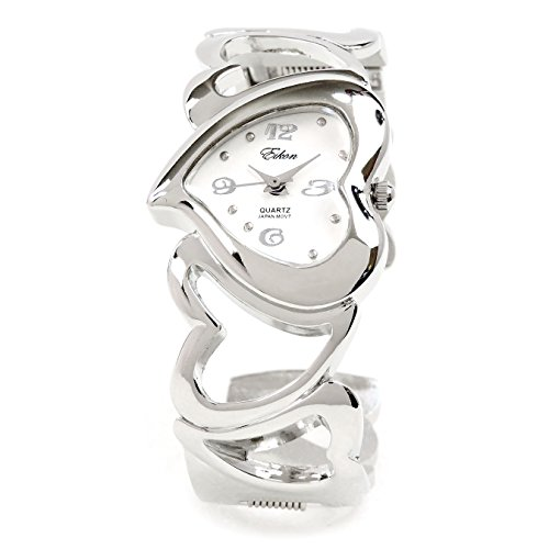 ❤ Mother's Day Gift ❤ Silver Bangle with Heart Shape Dial and Hearts Bracelet, Cuff Watch for (Heart Dial Silver Cuff Watch)