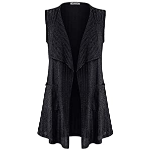 SeSe Code Women's Sleeveless Lightweight Vest Open Front Cardigan with Pockets