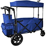 BLUE PUSH AND PULL HANDLE WITH REAR FOOT BRAKE FOLDING STROLLER WAGON COLLAPSIBLE BABY TROLLEY W/CANOPY OUTDOOR SPORT GARDEN UTILITY SHOPPING TRAVEL CARTFREE CARRYING BAG - EASY SETUP NO TOOL NEEDS