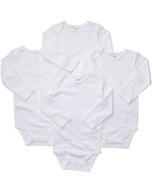 4 Pack Longsleeve Bodysuits - White-White-6 Months