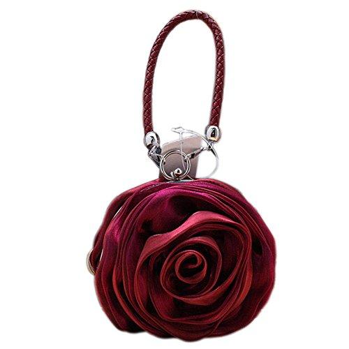 Eleoption clés Pour Charmant Main À Pochette Porte Satin Fleur Bordeaux Sac De arwUn54aq