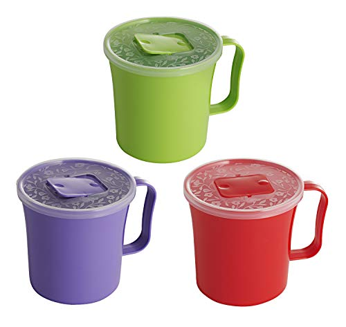 (3 Pack - Extra Large Soup Mug with Vented Lid and Handle | Plastic Oatmeal Cereal Cup with Cover | Microwave Safe Lidded Bowl, 37 Oz.)
