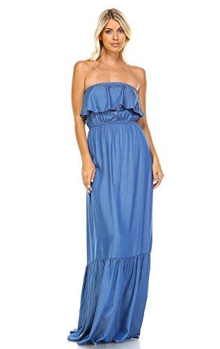 Zoozie LA Women's Chambray Ruffled Overlay Tube Maxi Dress